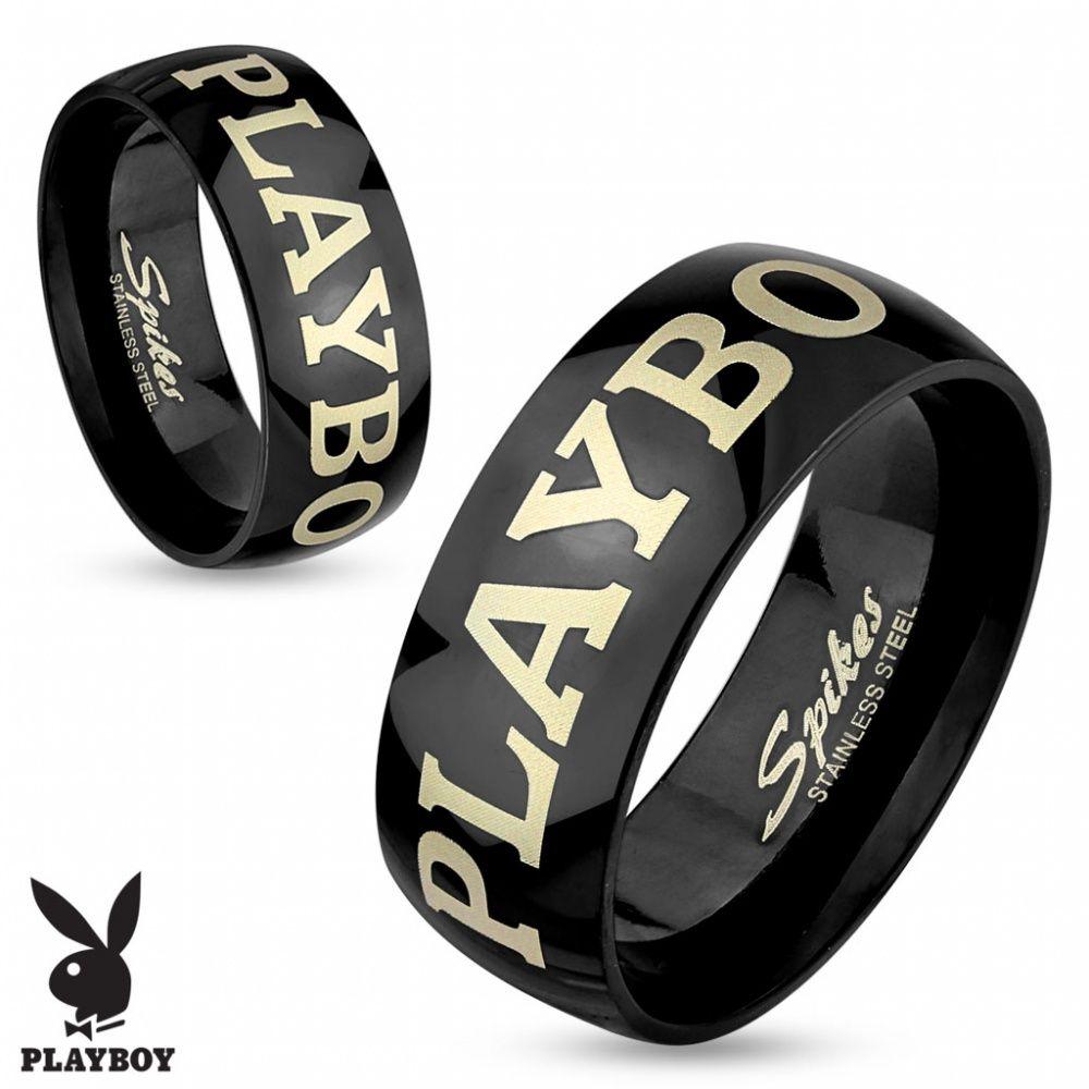 Кольцо стальное с черным покрытием и золотой надписью