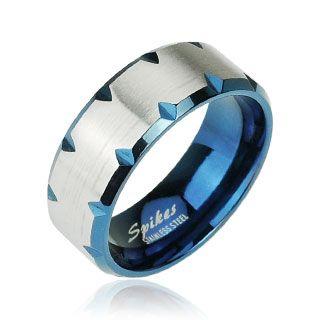 Кольцо синее со стальной окружностью