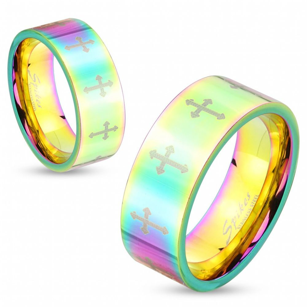 Кольцо радужного цвета с крестами по окружности