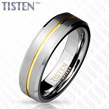 1ca92676c737 Изображение кольцо матовое с золотой полоской и скошенными краями spikes  KL-001353